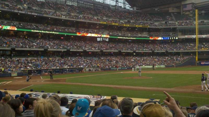 Seating view for Miller Park Section 112 Row 13 Seat 8