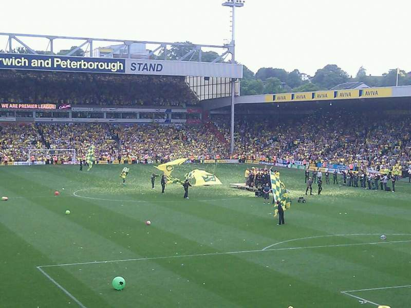 Seating view for Carrow Road Section Barclay E Row X Seat 131