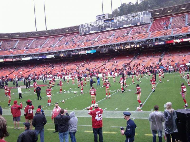 Seating view for Candlestick Park Section lower Row 6