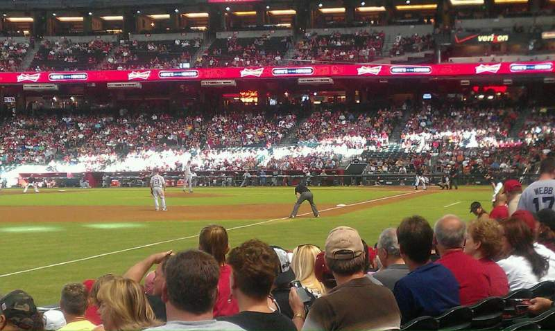 Seating view for Chase Field Section 134 Row 9 Seat 1