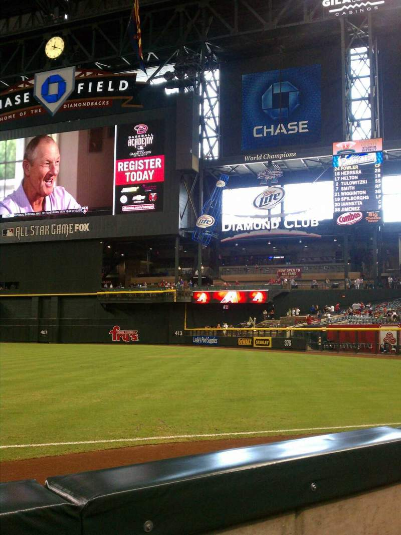 Seating view for Chase Field Section 111 Row 2 Seat 12