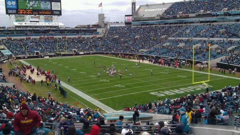 Seating view for TIAA Bank Field Section 127 Row EE Seat 13