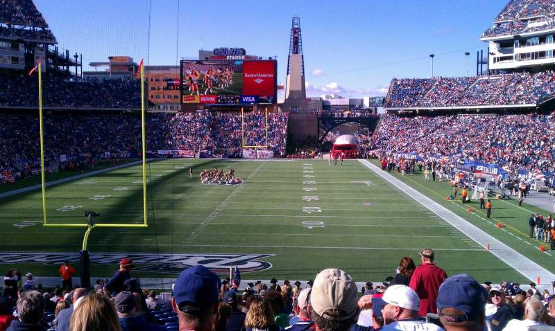 Seating view for Gillette Stadium Section 120 Row 29 Seat 2