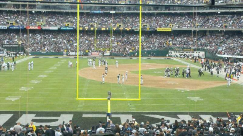 Seating view for Oakland Coliseum Section 128 Row 36