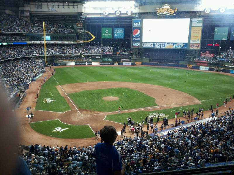Seating view for Miller Park Section 326 Row 4 Seat 9