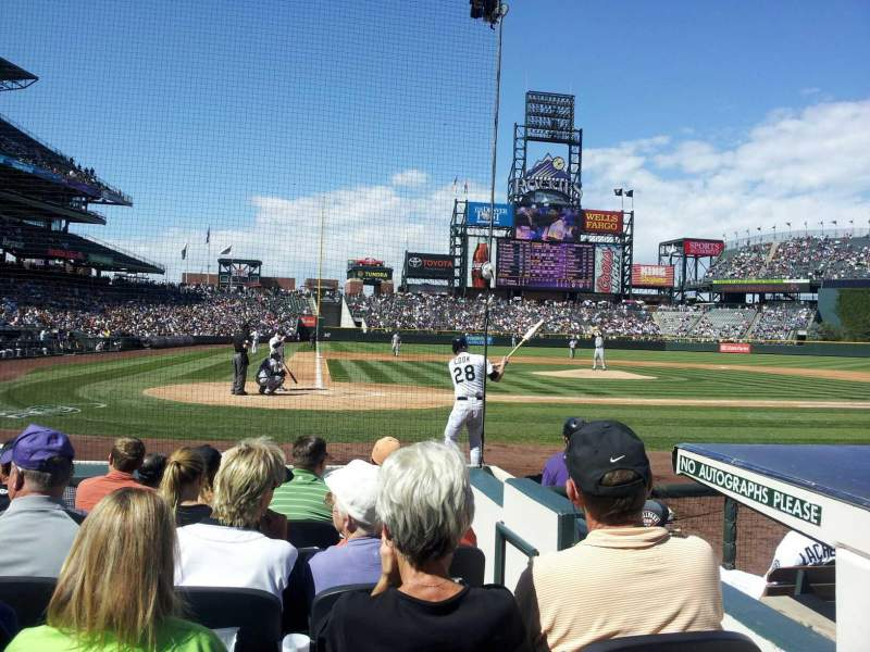 Seating view for Coors Field Section 126 Row 5 Seat 2