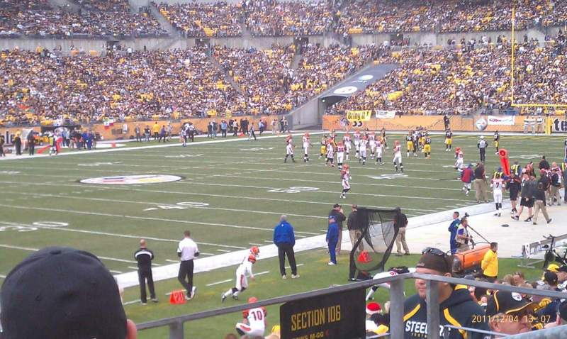 Seating view for Heinz Field Section 106 Row P Seat 4