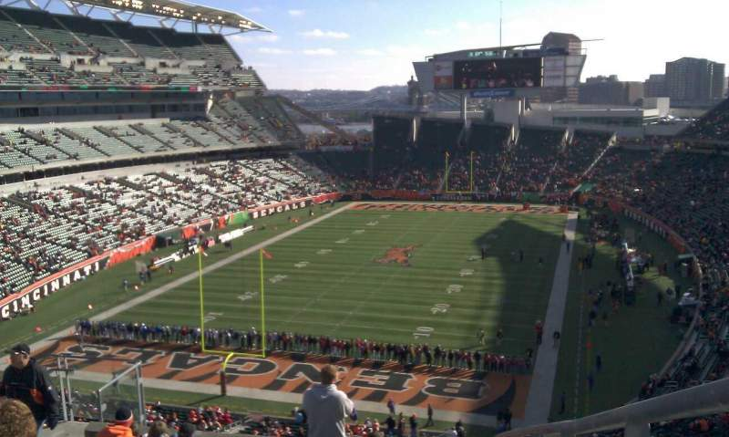 Seating view for Paul Brown Stadium Section 222 Row 22 Seat 1