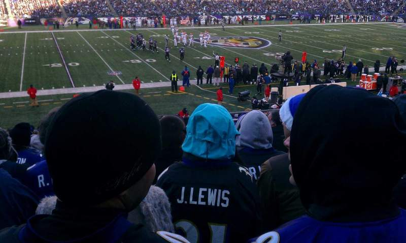 Seating view for M&T Bank Stadium Section 129 Row 28 Seat 5