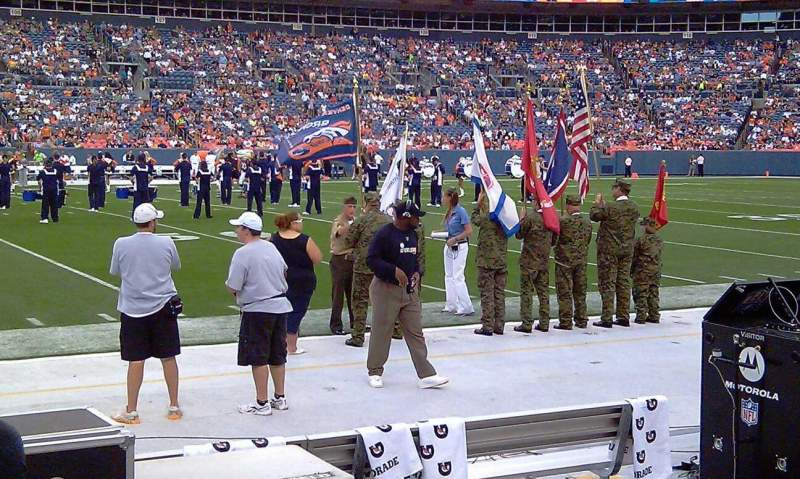 Seating view for Sports Authority Field at Mile High Section 124 Row A1 Seat 7