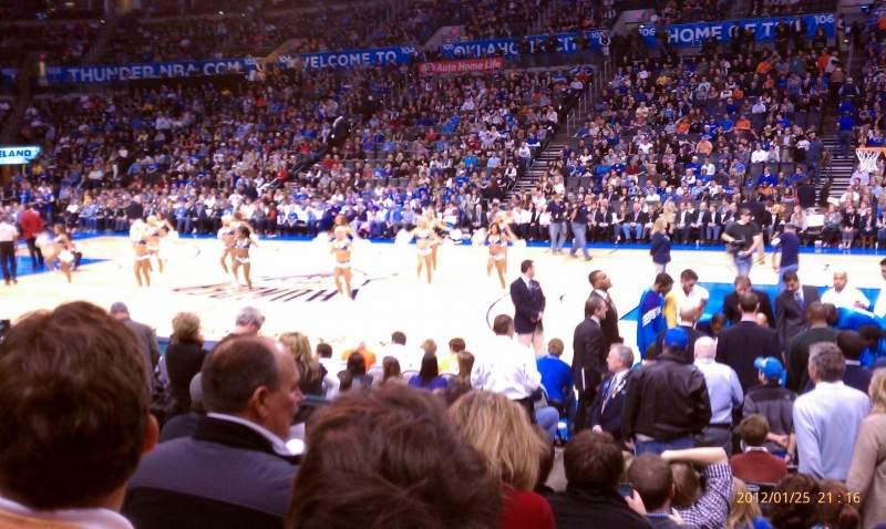 Seating view for Chesapeake energy arena Section 114 Row 8