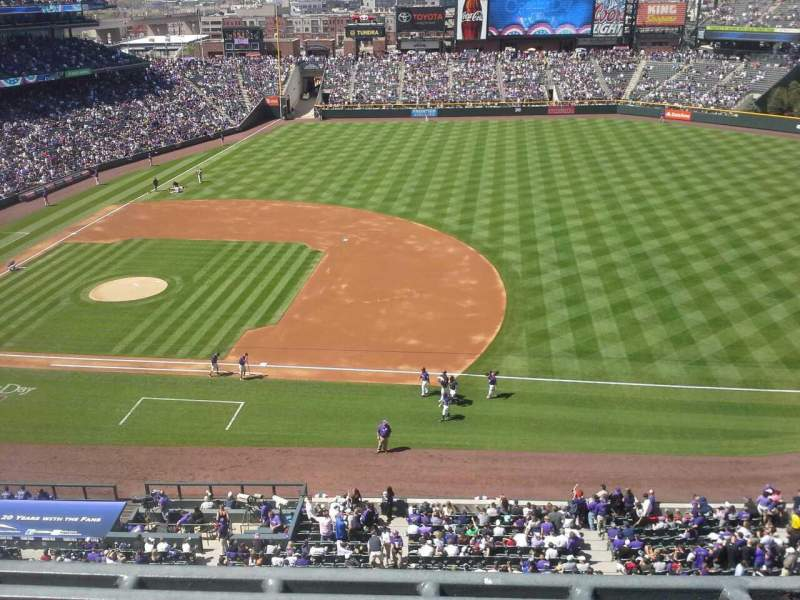Seating view for Coors Field Section L321 Row 1