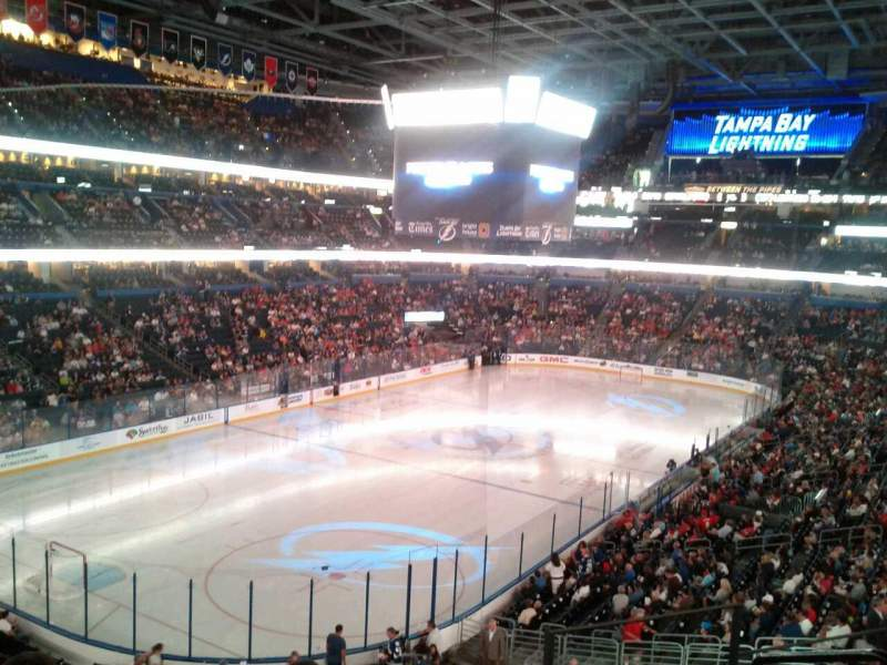 Seating view for Amalie Arena Section 206 Row E Seat 1