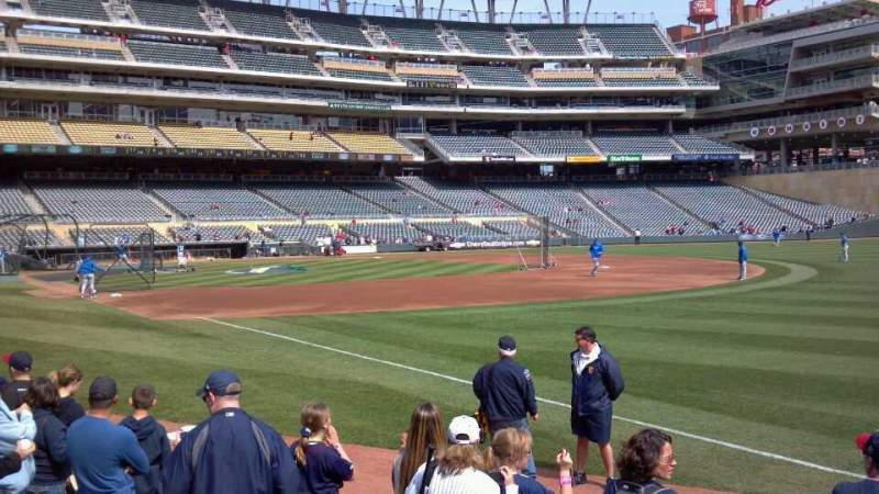 Seating view for Target Field Section 103 Row 6 Seat 11