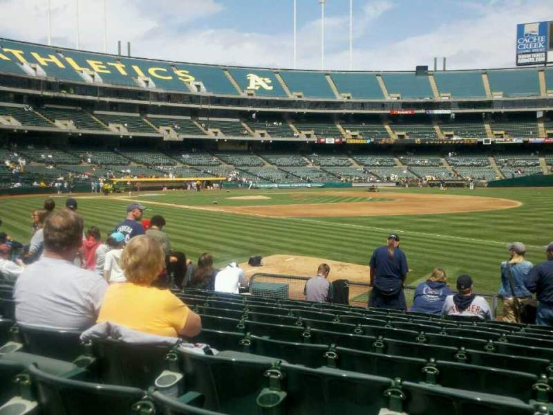 Seating view for Oakland Alameda Coliseum Section 107 Row 12 Seat 1