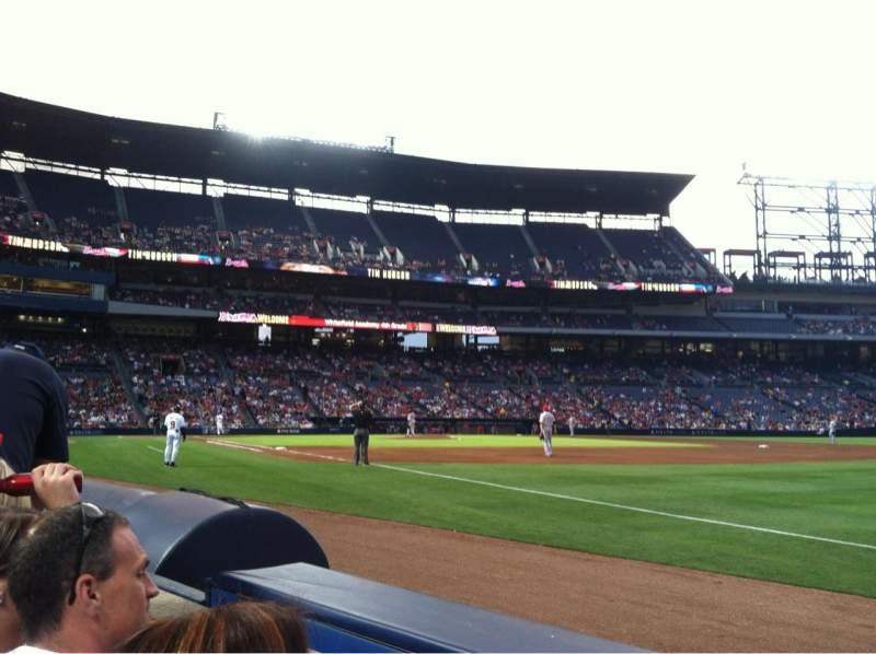 Seating view for Turner Field Section 121 Row 2 Seat 102