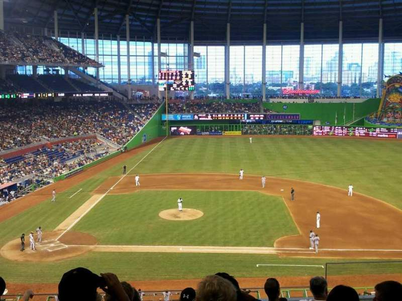 Seating view for Marlins Park Section 210 Row 7 Seat 4