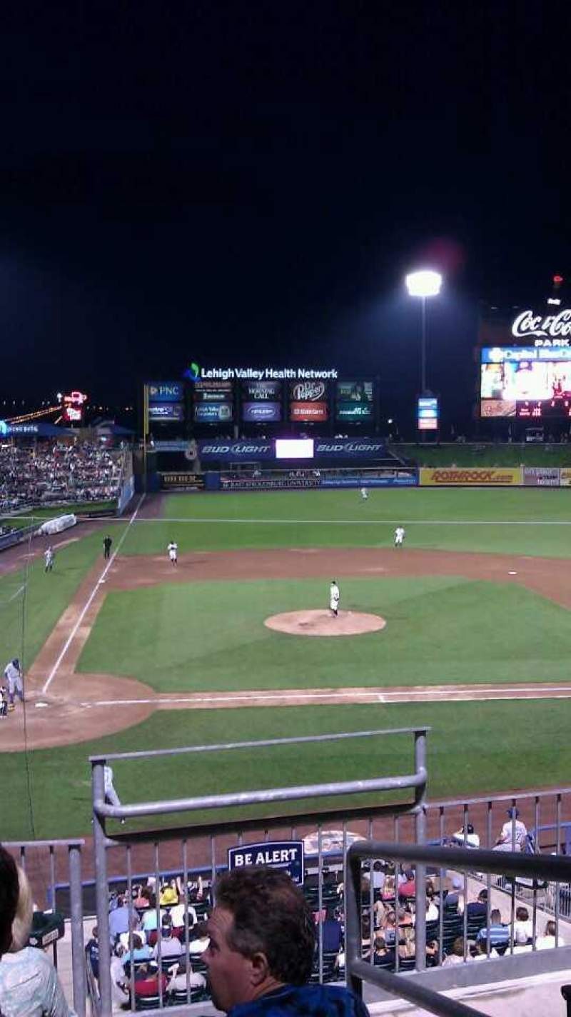 Seating view for Coca-Cola Park Section 205 Row D Seat 10