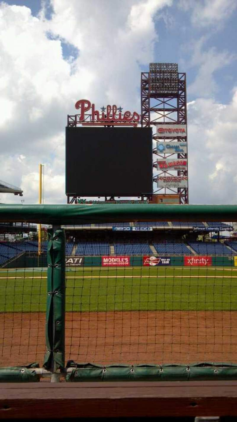 Seating view for Citizens Bank Park Section Dugout Row Bench Seat Bench