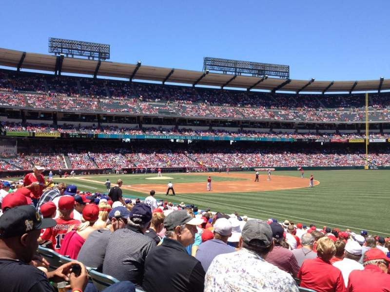 Seating view for Angel Stadium Section F130 Row T Seat 1