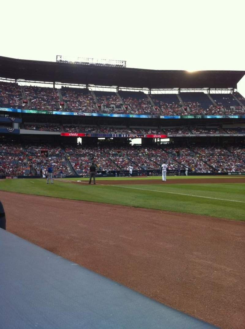 Seating view for Turner Field Section 121L Row 1 Seat 102