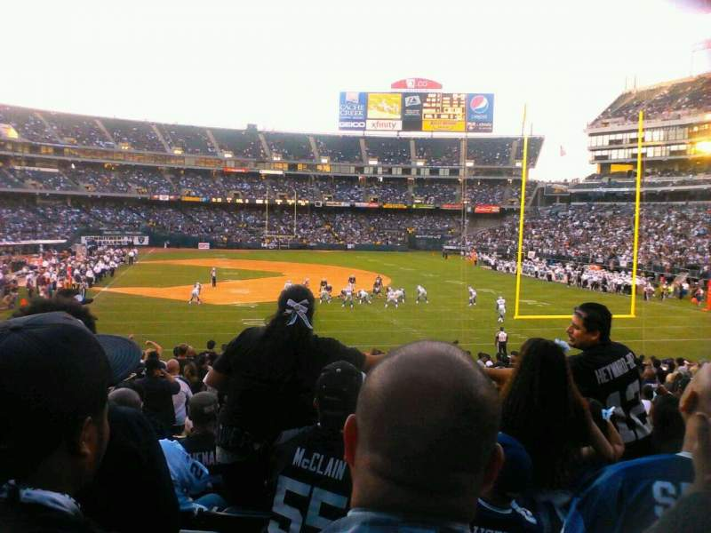 Seating view for Oakland Alameda Coliseum Section 107 Row 28 Seat 17