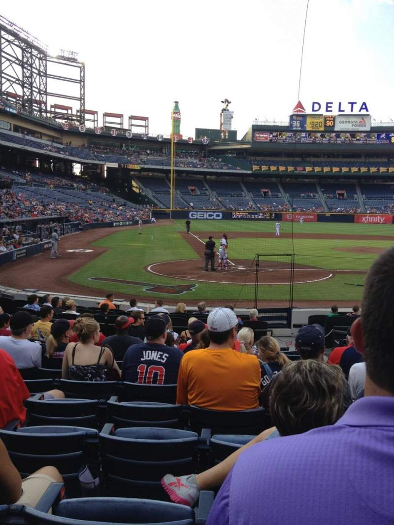 Seating view for Turner Field Section 105l Row 13 Seat 105