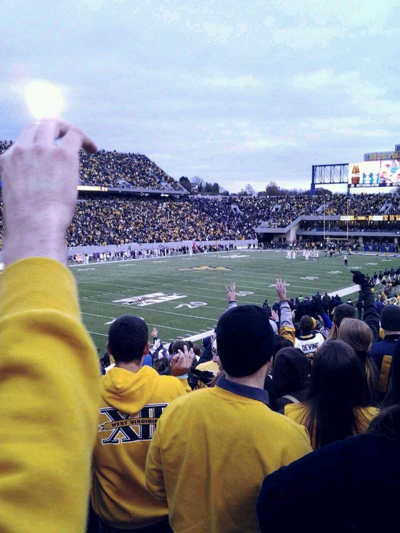 Seating view for Mountaineer Field Section Senior spirit Row 22 Seat 6