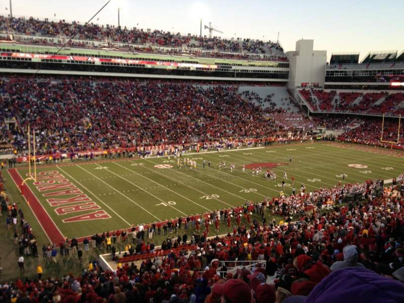 Seating view for Razorback Stadium Section 107 Row 52 Seat 36