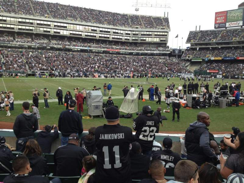 Seating view for Oakland Alameda Coliseum Section 121 Row 12 Seat 9-12