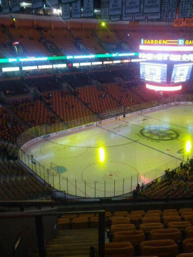 Seating view for TD Garden Section Bal 305 Row 9 Seat 18