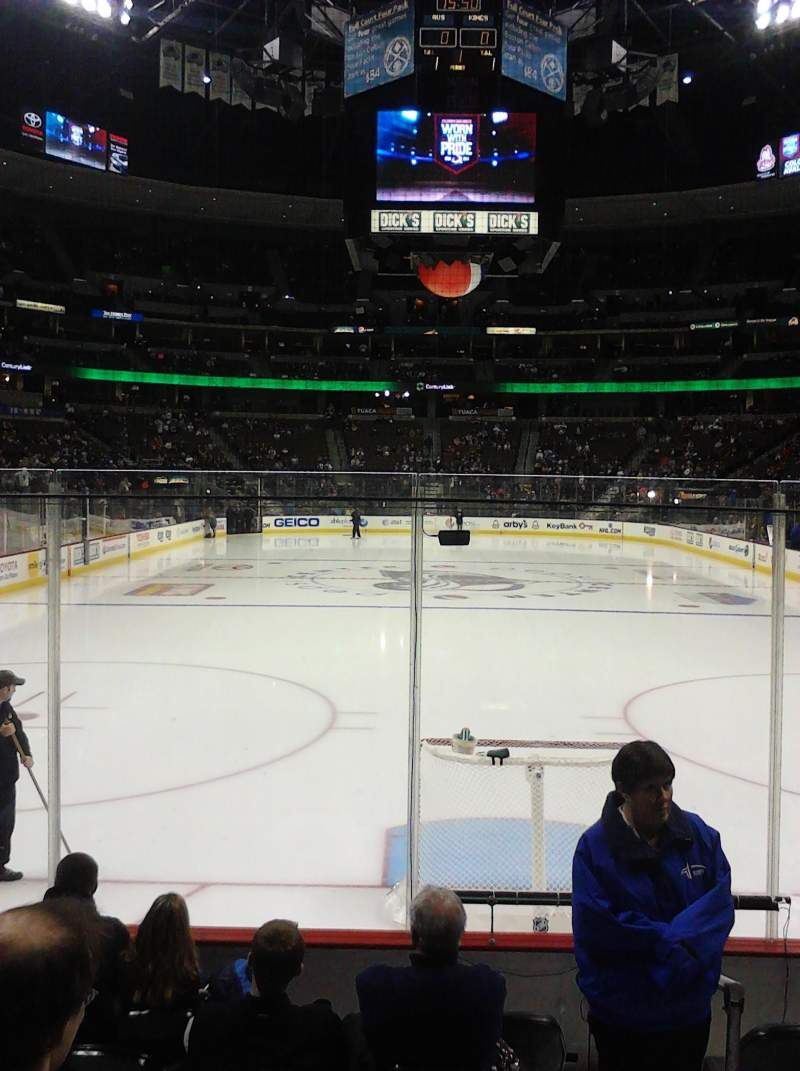 Seating view for Pepsi Center Section 116 Row 7 Seat 1