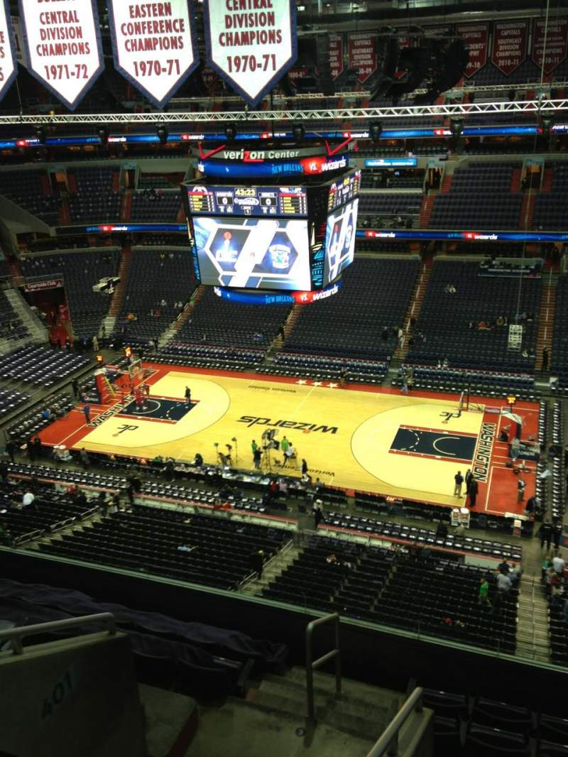 Seating view for Verizon Center Section 404 Row G Seat 1