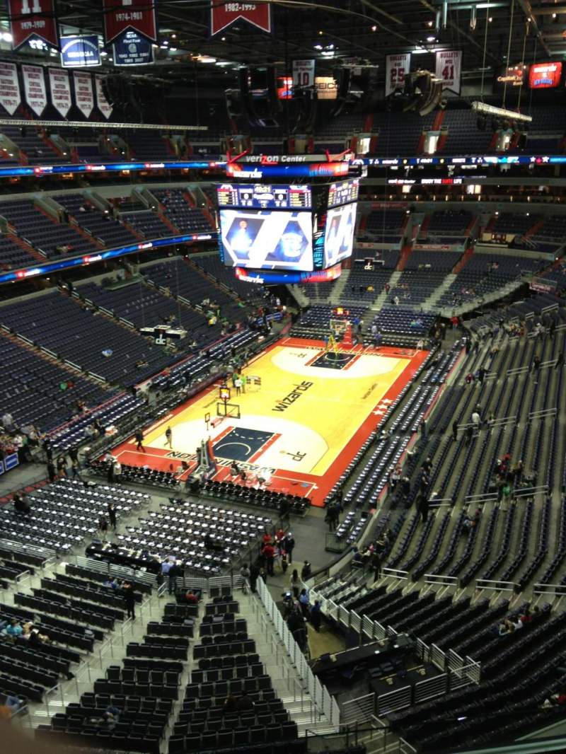 Seating view for Verizon Center Section 412 Row G Seat 1