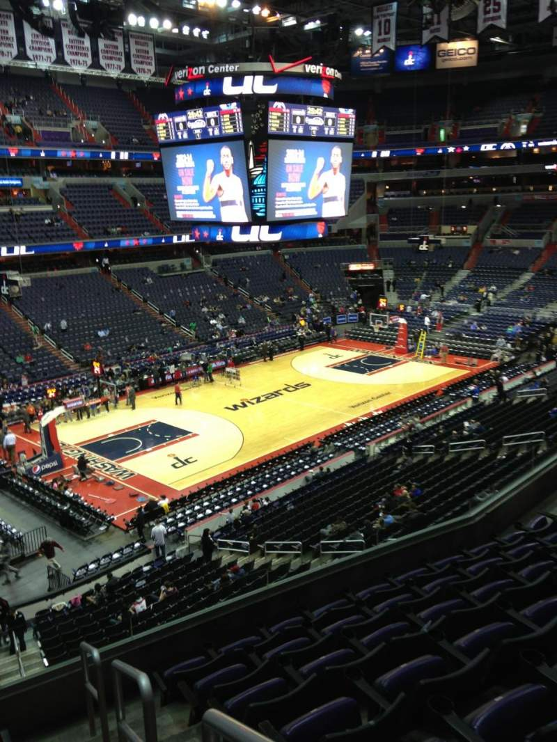 Seating view for Capital One Arena Section 212 Row F Seat 1