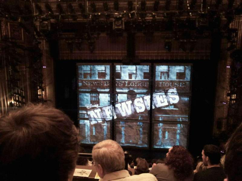 Seating view for Nederlander Theatre Section Rear mezz center Row LL Seat 106