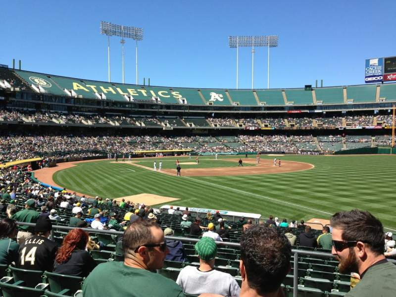 Seating view for Oakland Alameda Coliseum Section 105 Row 4 Seat 7