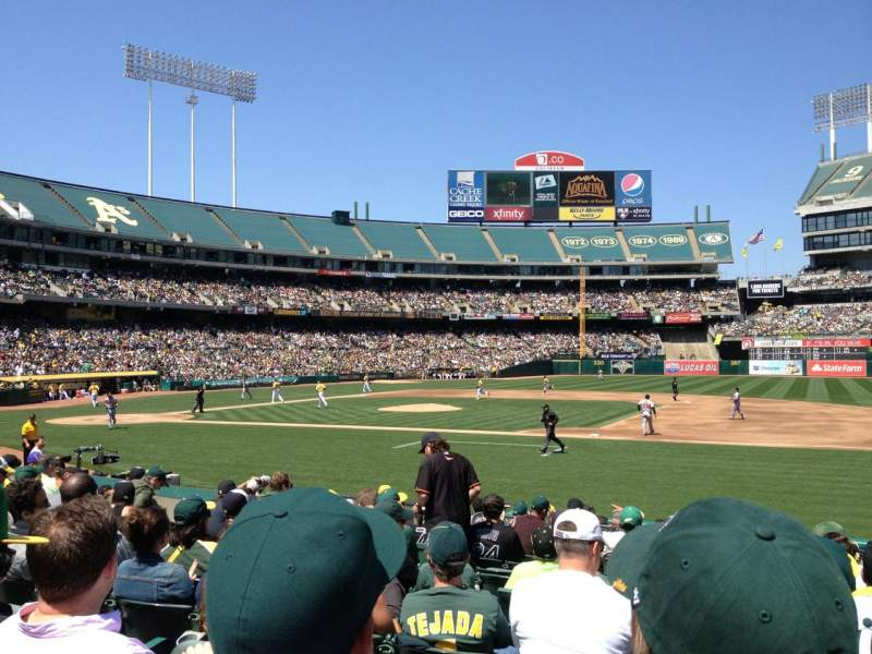 Seating view for Oakland Alameda Coliseum Section 111 Row 13 Seat 7