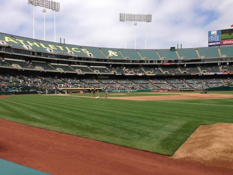 Seating view for Oakland Alameda Coliseum Section 108 Row 1 Seat 5
