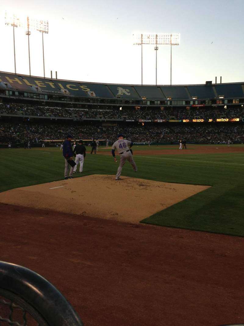 Seating view for Oakland Alameda Coliseum Section 107 Row 1 Seat 6