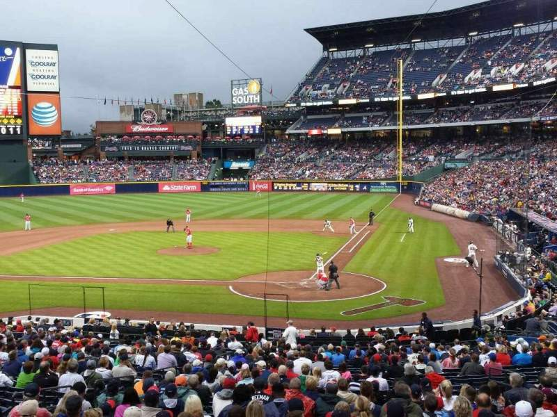 Seating view for Turner Field Section 206 Row 1 Seat 8