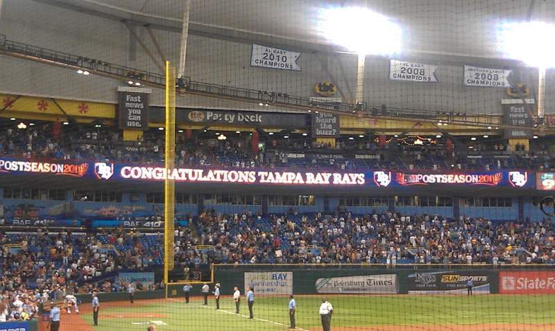 Seating view for Tropicana Field Section 102 Row M Seat 1