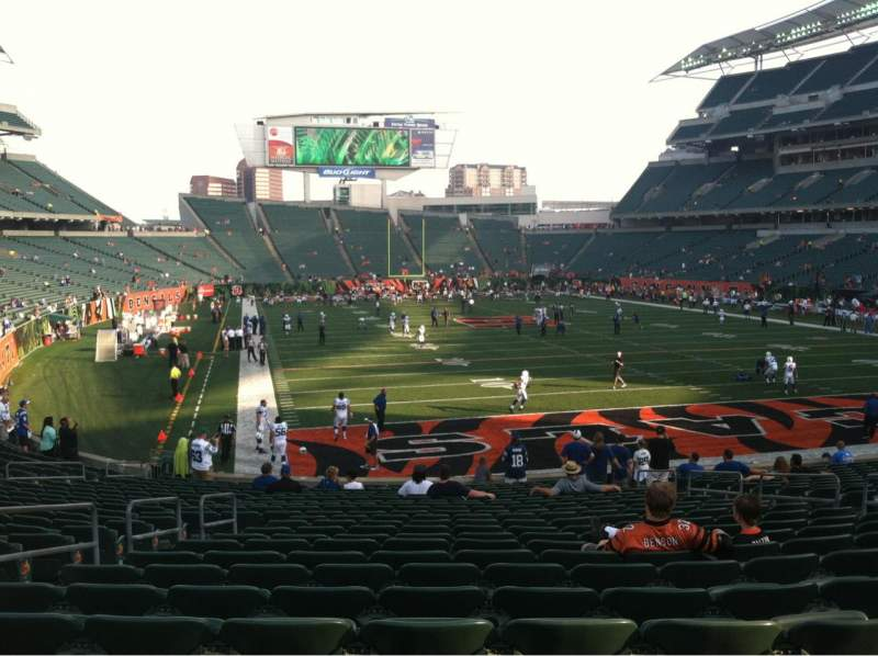 Seating view for Paul Brown Stadium Section 129 Row 23 Seat 11