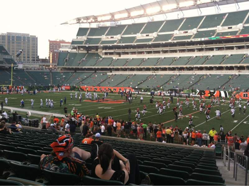 Seating view for Paul Brown Stadium Section 106 Row 19 Seat 1