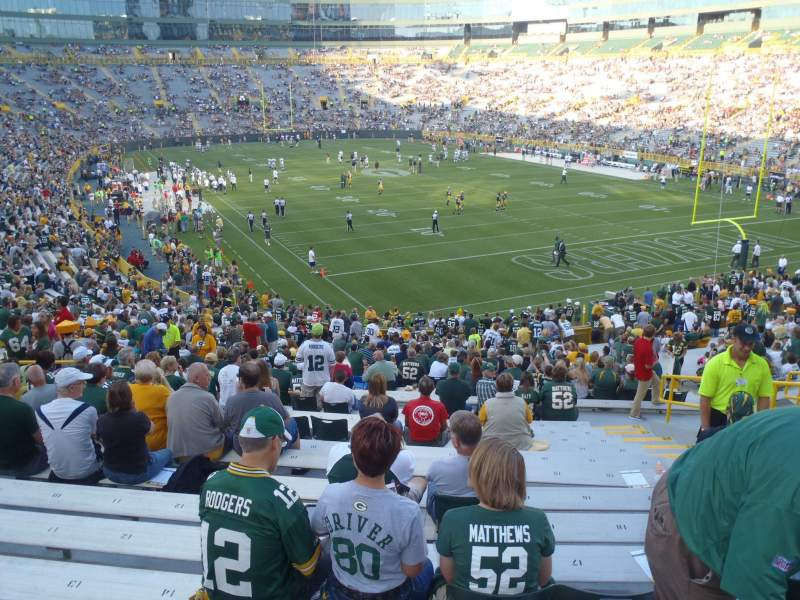 Lambeau field section 134 row 34 seat 15 green bay packers vs