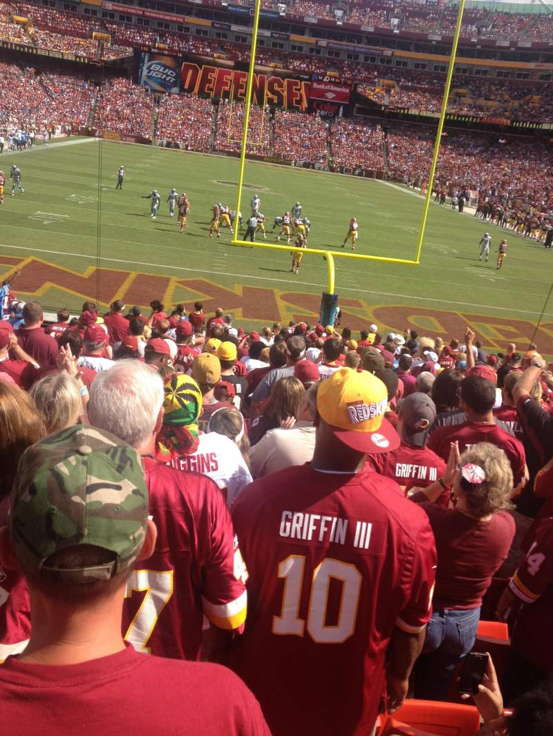 Seating view for FedEx Field Section 111 Row 18 Seat 19