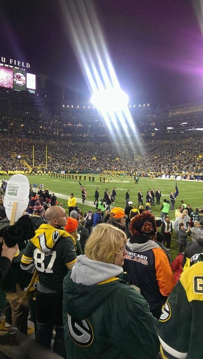 Seating view for Lambeau Field Section 109 Row 8 Seat 7