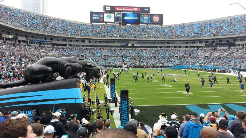 Seating view for Bank of America Stadium Section 104 Row 12 Seat 3
