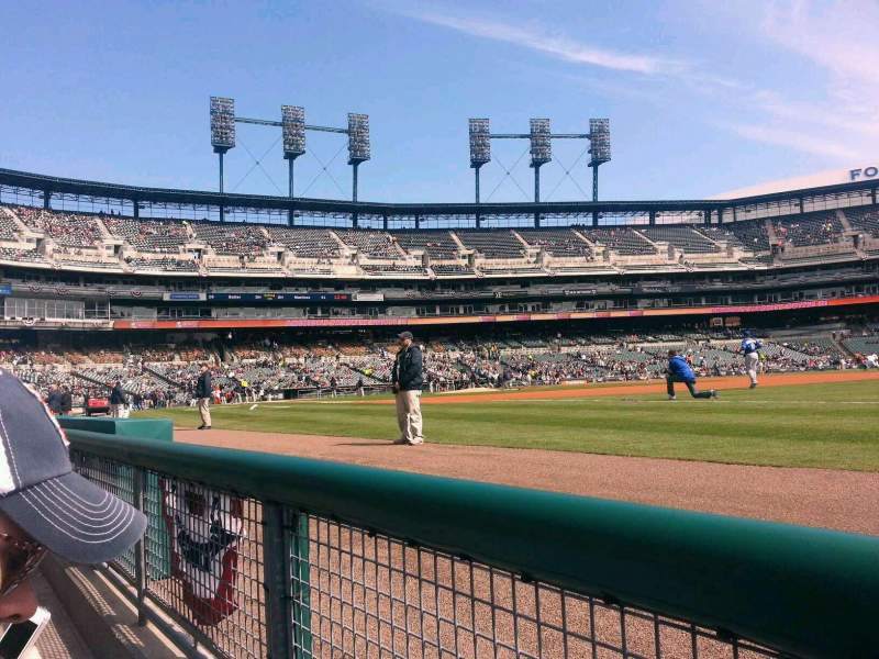 Seating view for Comerica Park Section 117 Row 1 Seat 5