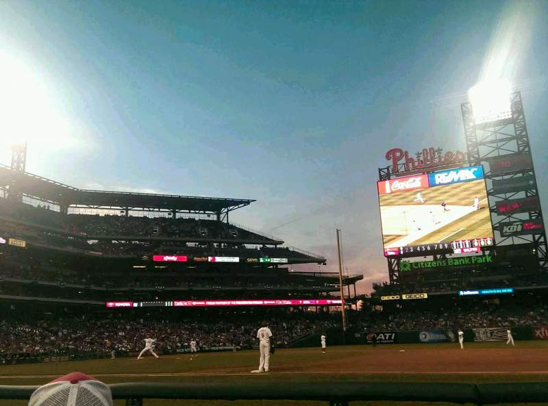 Seating view for Citizens Bank Park Section 115 Row 2 Seat 7